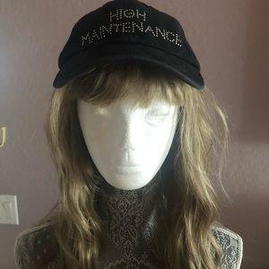"""HIGH MAINTENANCE"" black cap/hat with rhinestones"